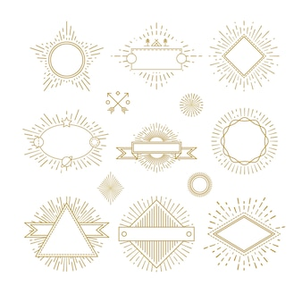 Vintage circle sunburst line emblems