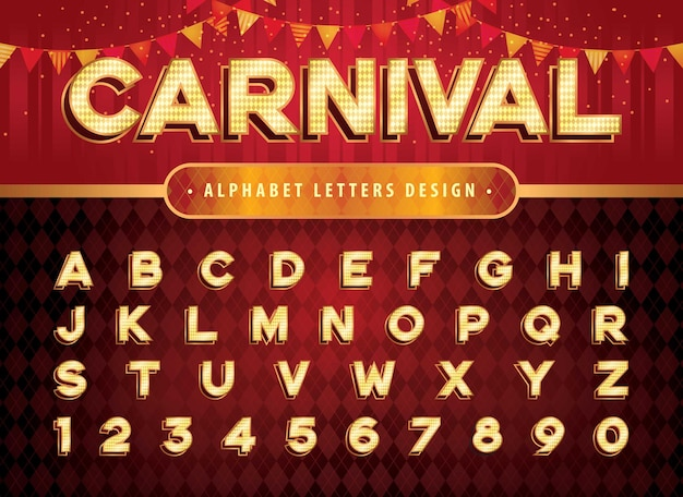 Vintage circus alphabet letters and numbers carnival circus funfair letters retro alphabet with shadow fonts