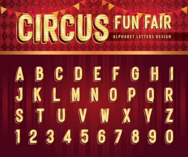 Vintage circus alphabet letters and numbers retro condensed alphabet with shadow fonts