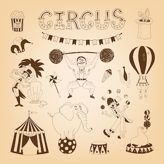 Vintage circus elements for poster design with elephant and lion tamer