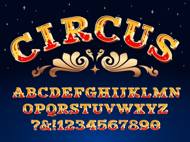 Vintage circus font. victorian carnival headline signage. typeface steampunk alphabet sign illustration