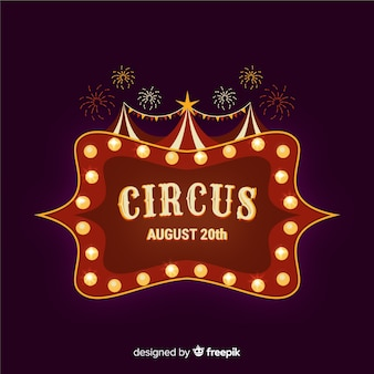 Vintage circus light sign background