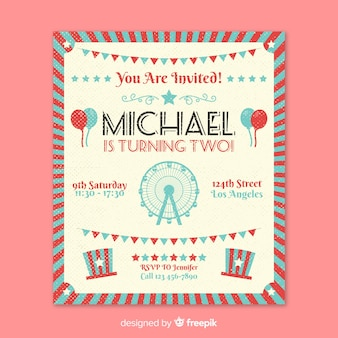 Vintage circus party invitation card
