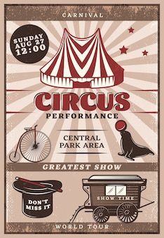 Vintage circus performance poster