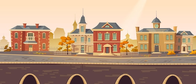 Vintage city autumn street with european colonial victorian buildings and lake promenade
