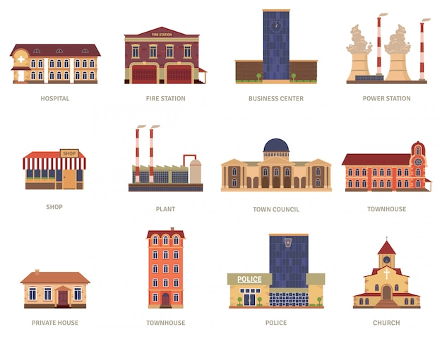 Vintage city buildings of hospital fire station and downtown business center icons set