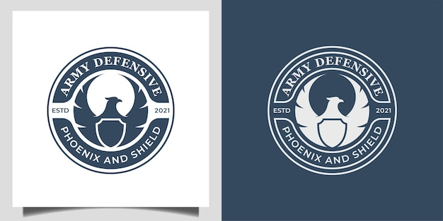 Vintage classic badge with silhouette phoenix or eagle and shield icon for army defender logo design