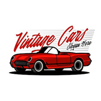 Vintage classic car illustration