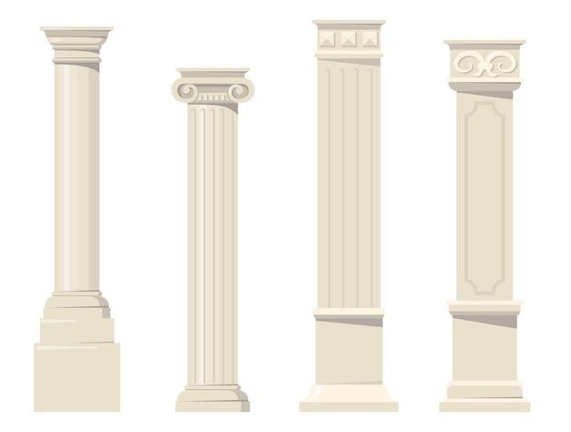 Винтажные классические резные архитектурные колонны плоский набор. мультяшные римские, ренессансные или барочные колонны для внутренней изолированной векторной коллекции. концепция дизайна и отделки здания