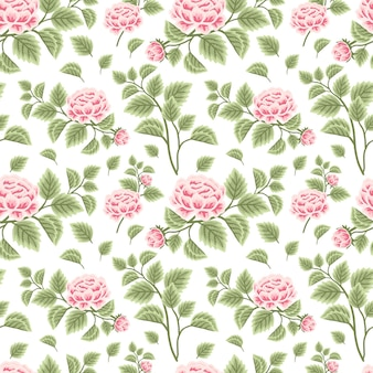 Vintage and classic floral seamless pattern of pink peony flowers with leaf branch arrangements