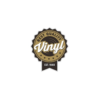 Vintage classic gramophone music vinyl record logo design
