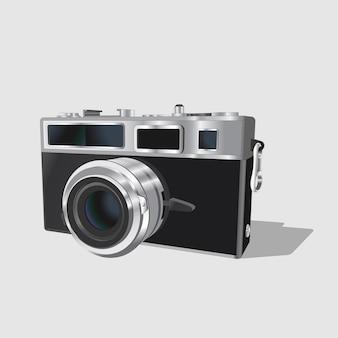 Винтажный классический фотоаппарат. реалистичная ретро старая фотоаппарат на белом фоне. изолированный.