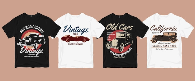 Комплект винтажной классической футболки в стиле ретро