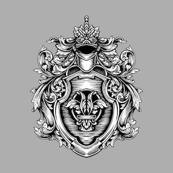Старинный классический щит орнамент
