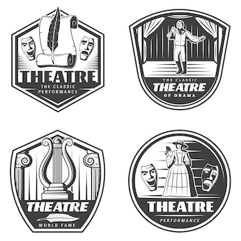 Vintage classic theatre emblems set