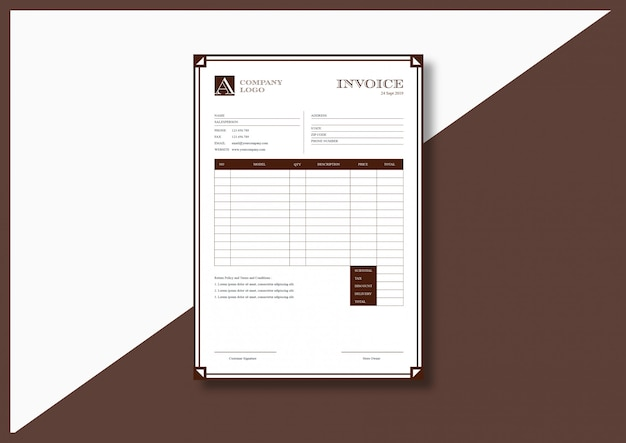 Vintage classy elegant invoice template
