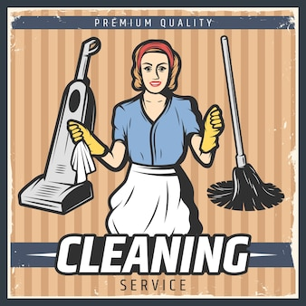 Vintage cleaning illustration