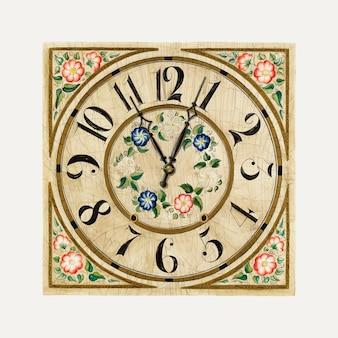 Illustrazione vettoriale del quadrante dell'orologio vintage, remixata dall'opera d'arte di gene luedke