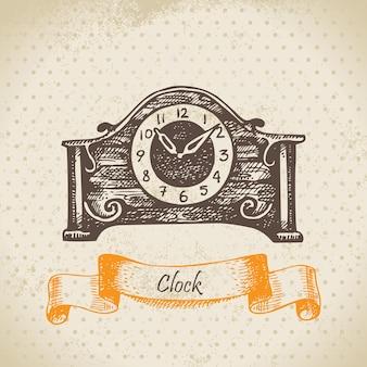 ヴィンテージ時計。手描きイラスト