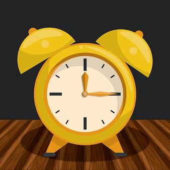 Vintage clock on table cartoon