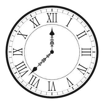 Vintage clock with roman numeral. antique wall clock-face dial. vector illustration.