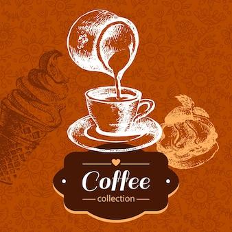 Старинный фон кофе. рисованной иллюстрации эскиз. дизайн меню