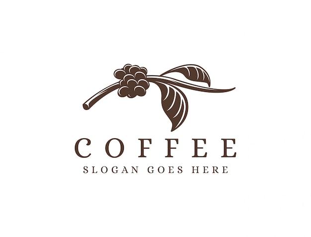 ビンテージコーヒーブランチのロゴ、コーヒー豆のロゴ、コーヒー植物のロゴアイコンテンプレート