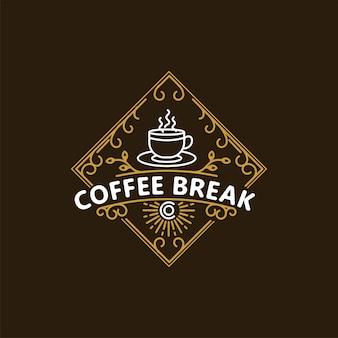 Vintage coffee break coffee shop emblem logo design