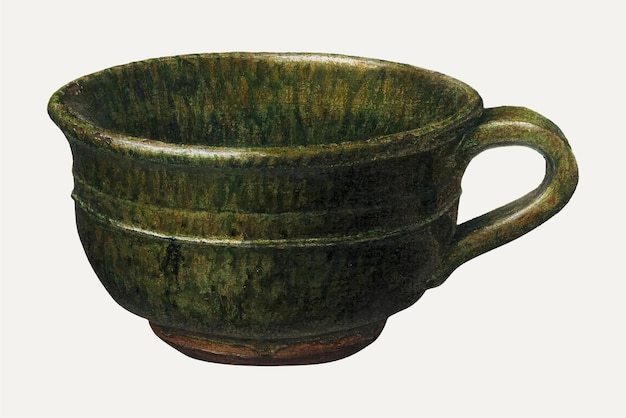 Винтажная кофейная чашка векторная иллюстрация, ремикс из работы джона матулиса