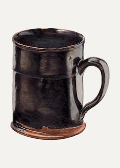 미국 20세기 예술가의 작품에서 리믹스된 빈티지 커피 컵 벡터 일러스트레이션