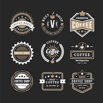 Vintage coffee logo set