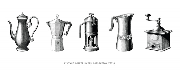 Vintage coffee maker collection hand draw black and white