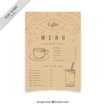 Vintage coffee menu with sketches
