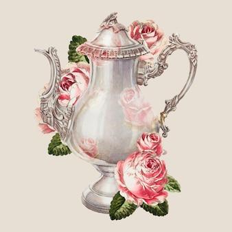 Vettore di caffettiera vintage con illustrazione floreale, remixata dall'opera d'arte di ernest a. towers, jr.