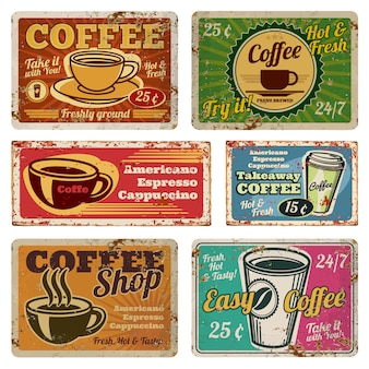 Vintage coffee shop and cafe metal vector banners in old 1940s style