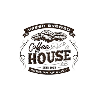 Vintage coffee shop label template