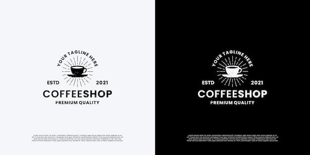 ヴィンテージコーヒーショップのロゴデザインバッジ