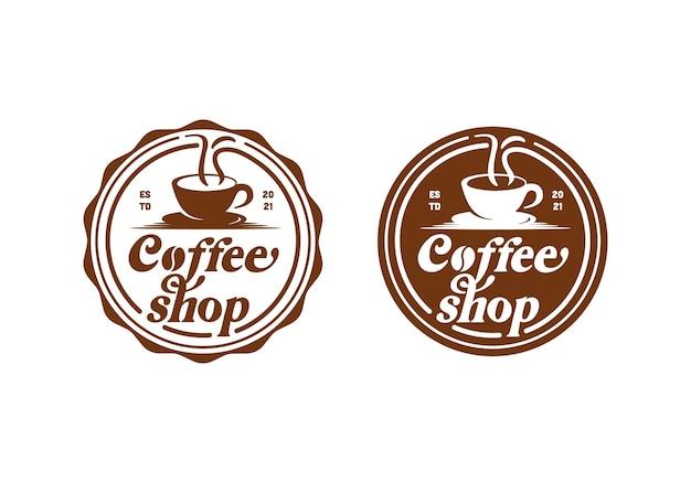 Винтажный логотип кофейни, штамп этикетка круглый круглый шаблон дизайна