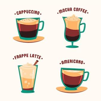 Vintage coffee types illustration set