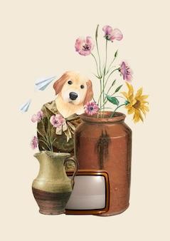 Vintage collage dog illustration collage vector, mixed media art
