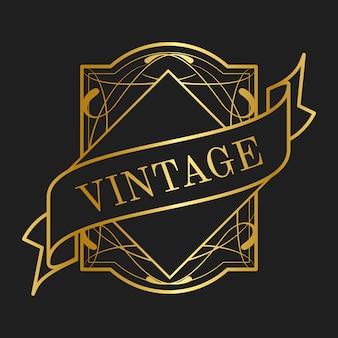 Vintage collection art nouveau badge vectors