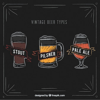 Vintage collection of beer types