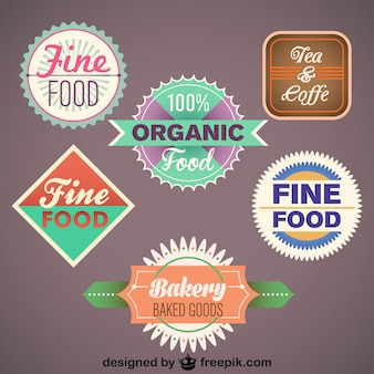 Vintage collection of food labels and badges
