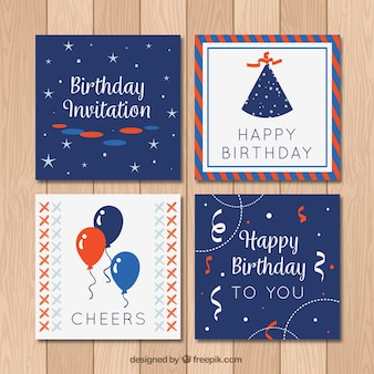 Vintage collection of four birthday cards