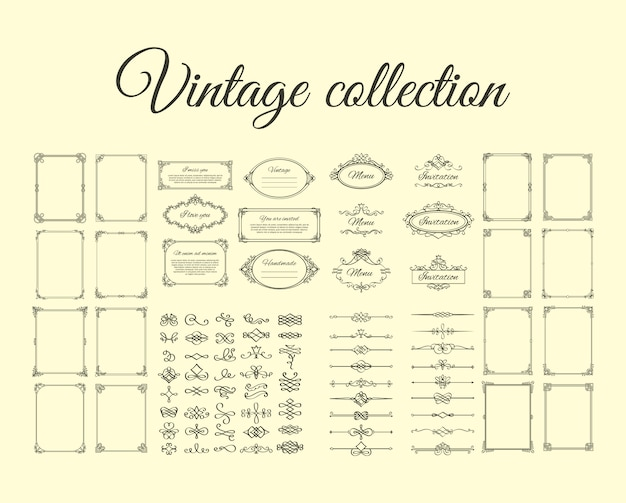 Vintage collection of frames and borders