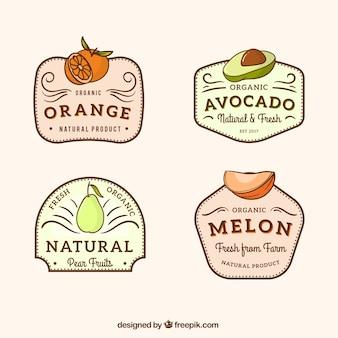 Collezione vintage di etichette di frutta
