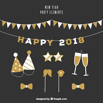 Vintage collection of new year party elements