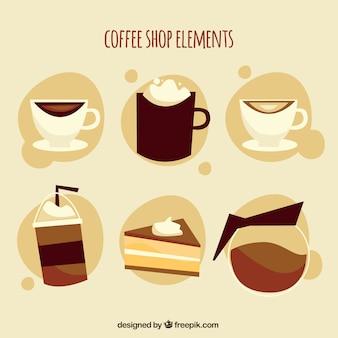 フラットなデザインのコーヒー要素のヴィンテージコレクション