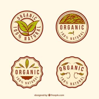 둥근 유기농 식품 스티커의 빈티지 컬렉션