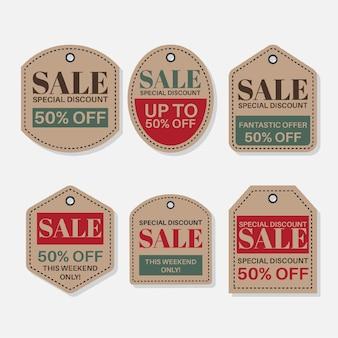 Винтажная коллекция тегов продаж со скидками